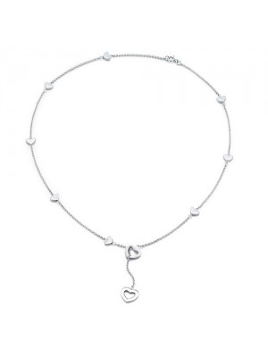 Lady Fashion Heart Link lariat 925 silver necklace
